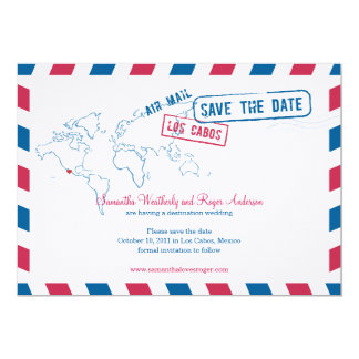 Los Cabos Mexico  Air Mail Wedding Save The Date Card
