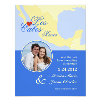 """Los Cabos Mexico Save the Date Photo Announcement 4.25"""" X 5.5"""" Invitation Card"""