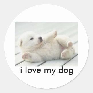 los cachorros, amo mi perro pegatina redonda