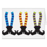 Los calcetines rayados de la bruja felicitaciones