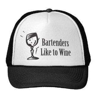 Los camareros tienen gusto de wine gorros bordados