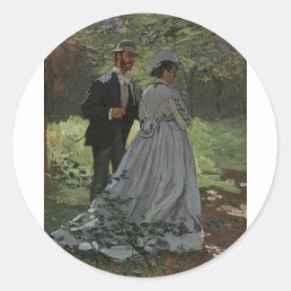 Los caminante (1865) pegatina redonda