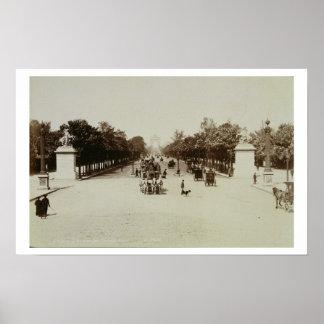 Los campeones Elysees, París (foto de la sepia) Póster