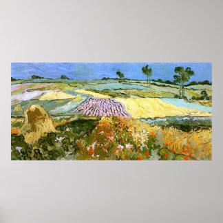 Los campos de trigo acercan a la bella arte de póster