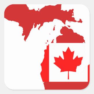 Los canadienses viven o trabajan en Michigan Calcomanía Cuadradas