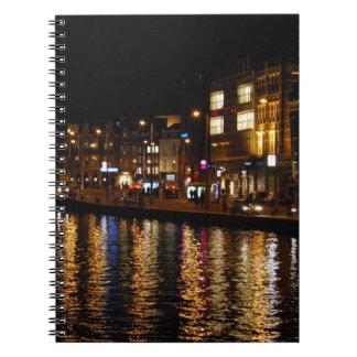 Los canales de Amsterdam en la noche Libro De Apuntes Con Espiral