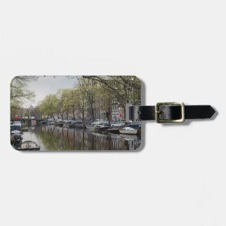 Los canales de Amsterdam Etiqueta De Maleta