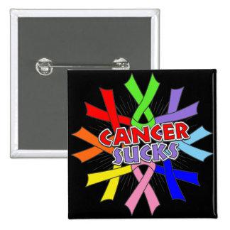 Los cánceres chupan cintas de la conciencia pin cuadrada 5 cm