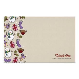 Los caracteres festivos lindos le agradecen papel  papeleria