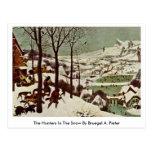 Los cazadores en la nieve por Bruegel A. Pieter Tarjeta Postal