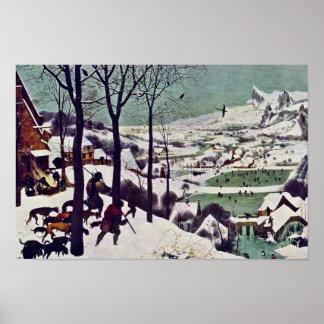 Los cazadores en la nieve, por Bruegel D. Ä. Piete Poster