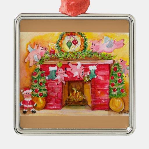 Los cerdos del vuelo adornan el hogar y el ornamen ornamente de reyes