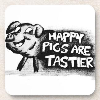 ¡Los cerdos felices son más sabrosos Posavasos De Bebida