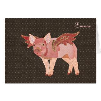 Los cerdos rosados vuelan Notecard personalizado Tarjeta Pequeña