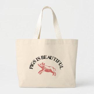 Los cerdos son hermosos bolsa lienzo