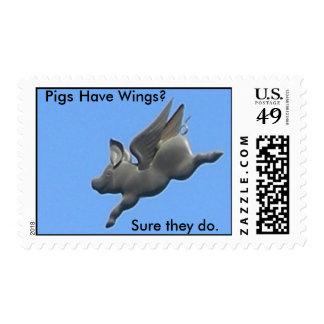 ¿Los cerdos tienen alas? Sellos Postales