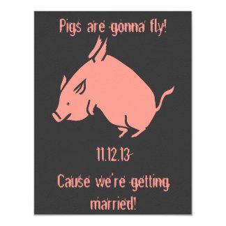 """Los """"cerdos van a volar!"""" invitación del boda"""