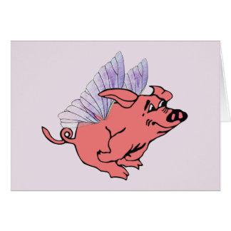 Los cerdos volarán tarjeta de felicitación