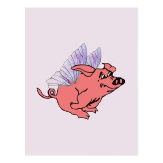 Los cerdos volarán postal