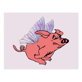 Los cerdos volarán tarjetas postales