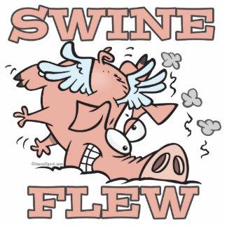 los cerdos volaron el dibujo animado del retruécan llavero fotográfico