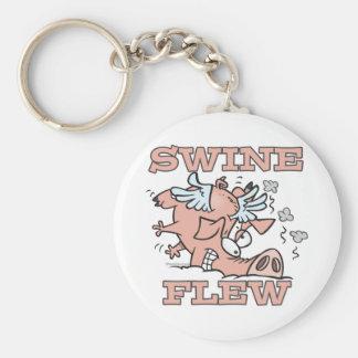 los cerdos volaron el dibujo animado del retruécan llavero redondo tipo pin