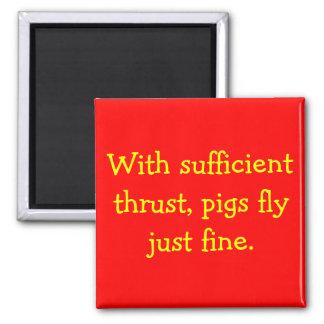 Los cerdos vuelan imán cuadrado