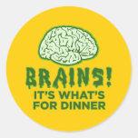 Los cerebros, es cuál está para la cena pegatina redonda