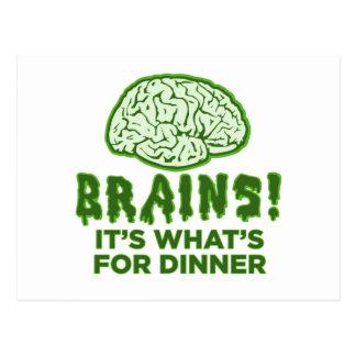 Los cerebros, es cuál está para la cena tarjetas postales