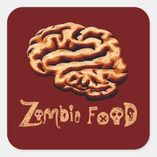 Los cerebros Halloween de la comida del zombi Calcomanía Cuadrada Personalizada