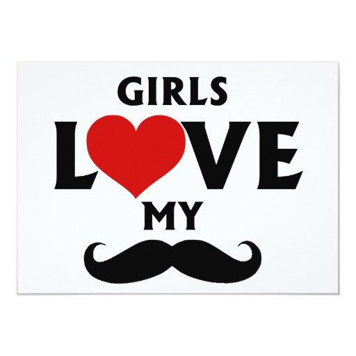 Los chicas aman mi bigote invitación 11,4 x 15,8 cm