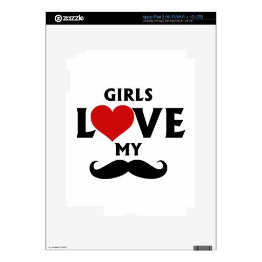 Los chicas aman mi bigote iPad 3 skin