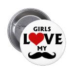 Los chicas aman mi bigote pins