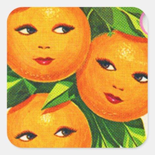 Los chicas anaranjados de los naranjas del vintage pegatina cuadrada