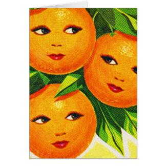 Los chicas anaranjados de los naranjas del vintage tarjeta de felicitación