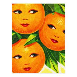 Los chicas anaranjados de los naranjas del vintage tarjetas postales