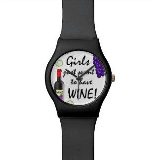¡Los chicas apenas quieren comer vino Relojes De Pulsera