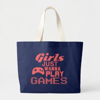 Los chicas apenas quieren jugar a juegos bolsa tela grande