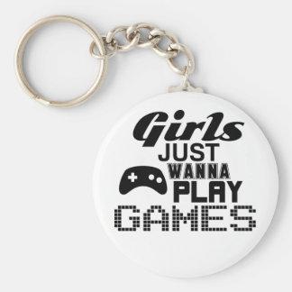 Los chicas apenas quieren jugar a juegos llavero redondo tipo pin