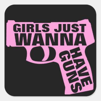 Los chicas apenas quieren tener armas pegatina cuadrada