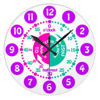 Los chicas aprenden decir a tiempo el reloj púrpur