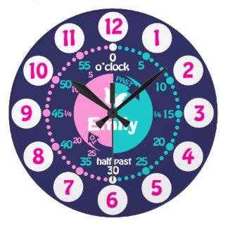 Los chicas aprenden decir a tiempo la aguamarina a reloj redondo grande
