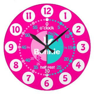 Los chicas aprenden decir a tiempo la aguamarina r relojes de pared