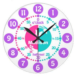 Los chicas aprenden decir a tiempo la aguamarina reloj redondo grande