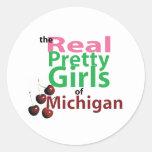 los CHICAS BONITOS reales de Michigan Etiqueta Redonda