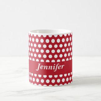 Los chicas de encargo de los lunares rojos y blanc taza de café