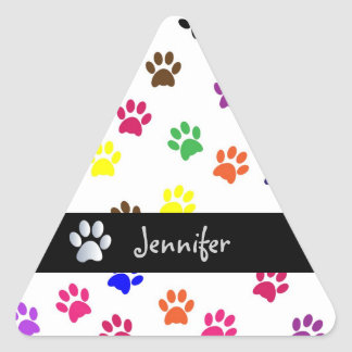 Los chicas de encargo del perro casero de la pegatina triangular