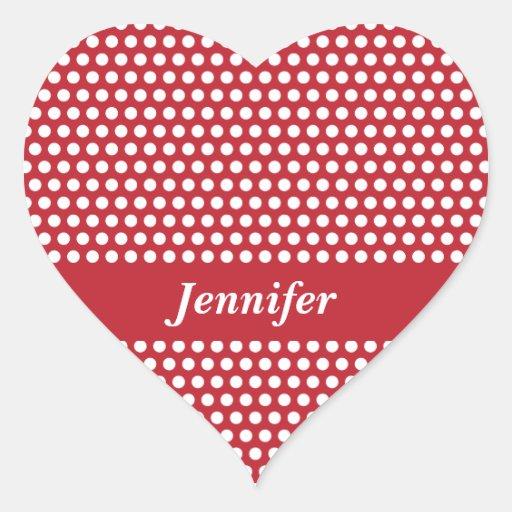 Los chicas de encargo nombran a los pegatinas rojo pegatina de corazon personalizadas