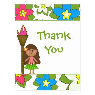 Los chicas de hula tropicales lindos le agradecen  tarjetas postales