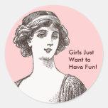 Los chicas de la belleza de la aleta del vintage etiqueta redonda
